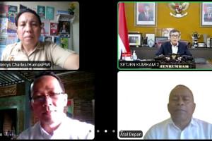Audensi Virtual PWI Pusat/Panitia HPN 2021 bersama Menteri Hukum dan Ham